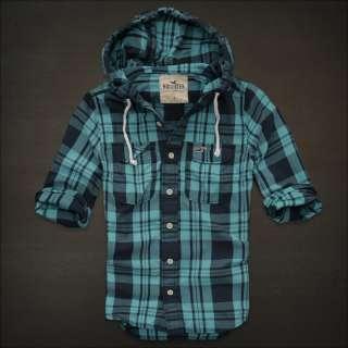 Ventura Beach Turquoise plaid hoodie button shirt mens New S M L XL