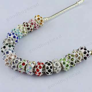 MIXED CRYSTAL SILVER FINDINGS EUROPEAN BIG HOLE CHARM BEADS