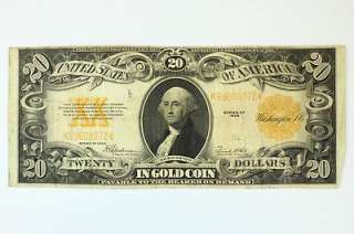 1922 Twenty Dollar $20 Bill Gold Coin Certificate F 1187 Gold Seal