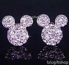 DISNEY MICKEY MOUSE PURPLE WHITE GOLD PLATED STUD EARRINGS USE