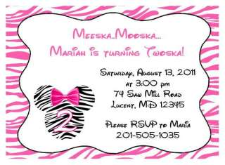 MINNIE MOUSE PINK AND BLACK ZEBRA BIRTHDAY PARTY INVITATION