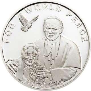 Solomon 2010 Mother Teresa 10 Dollar Silver Coin,Proof
