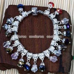 20p Mixed Crystal Glass Dangle European Beads Charms