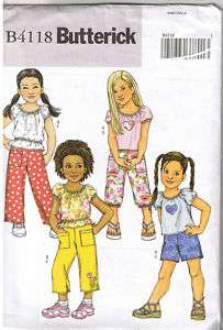 Girls Toddler Summer Top Short Pants Pattern Size 6 7 8