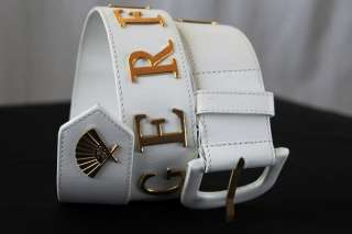 KARL LAGERFELD*RARE* Monogram Leather+Gold Fan Belt 30