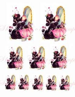 Shabby BLACK POODLES Decals Chic Wall Stickers Wallies
