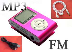 Pink Mini Meal Clip  Player FM Radio LCD Screen for 2/4/8/16GB F