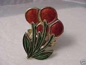 12 Red Enamel Cherries Napkin Rings NEW