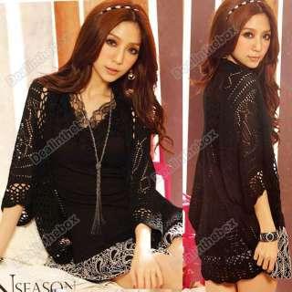 New Korea Women Hollow Sweater Shawl Shrug Knitwear Cardigan Knit Coat