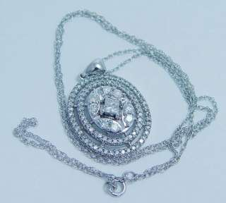 14K White Gold 1.10ct Diamond Pendant Necklace Estate Jewelry