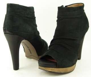 MISS SIXTY JAIDEN Black Womens Ankle Open Toe Wooden Platform Boots 6