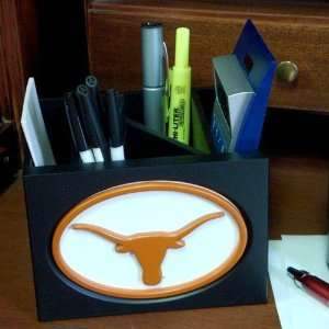 Texas Longhorns Black Wooden Team Logo Desktop Organizer