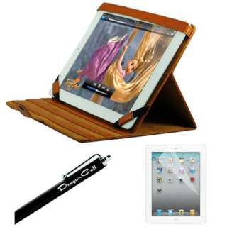 Apple iPad 2 Brown Multi Viewing Angle Stand Leather Case Cover Combo