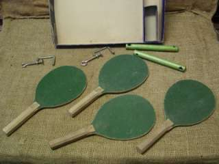 Vintage Ping Pong Set Antique Old Table Tennis Paddles