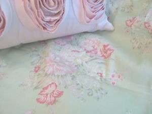 SET Shabby GREEN rose Floral Garden Walk simply chic NIP bedding 17dp