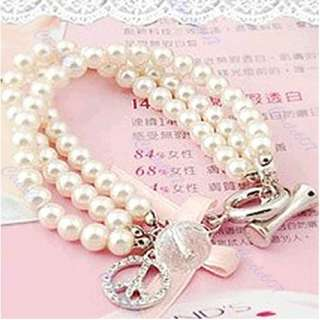 Fashion Beauty Pearl Chain Rhinestone Bracelet Bangle Bead |