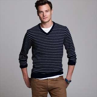 Cashmere V neck sweater in jetty stripe   J.Crew cashmere   Mens