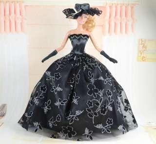 Fashion Handmade Barbie Wedding Dress Clothes For Barbie Doll+Hat