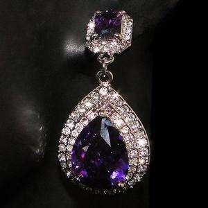 Teardrop Rectangle Pierced Chandelier Earring Purple Swarovski Crystal
