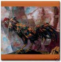 Vela Zanetti Cockfight Gallo de Pelea Ceramic Art Tile