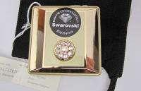 New Swarovski Crystal Elegant GOLD PILL BOX Case 2 Pt