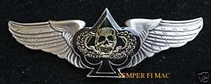 BIKER WINGS CARD SPADE DEATH SKULL PILOT WING PIN