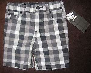 Hurley skate infant baby boy black white checker plaid shorts 12 18 24