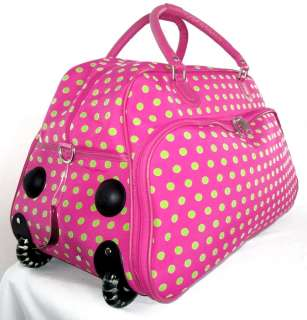 Gym Bag Rolling Luggage/Wheels Upright Travel Pink/Green Dots