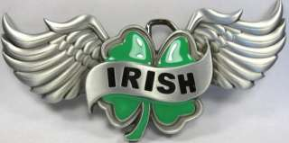 IRISH BELT BUCKLE FOUR LEAF CLOVER WINGS 4 IRELAND B54