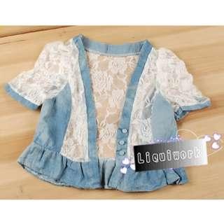 Cute Denim Blue White Lace Short Sleeve Bolero Shrug Jackets Blouses