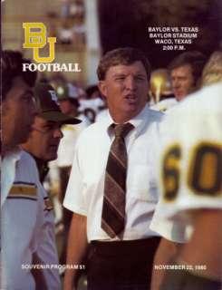 1980 Texas Longhorns vs Baylor Bears Program