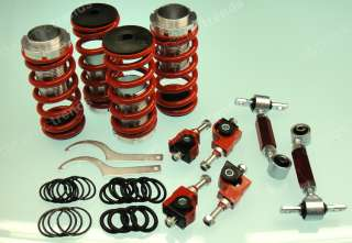 RED JDM LOWERING SPRING COILOVER SPRING SLEEVES + FRONT CAMBER + REAR