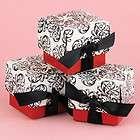 25 Black White Red Favor Boxes Filigree Wedding Bridal Shower Favors
