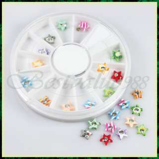 24pcs Nail Art Star Rhinestone Sticker Decoration Wheel