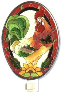 Tuscany Rooster Night light stained Glass Country