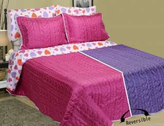 Hearts Bed in Bag Bedding Set Pink Purple TWIN 5pcs New