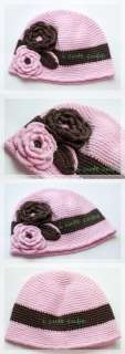 h6 Toddler baby girl crochet flower beanie kufi hat 6m+