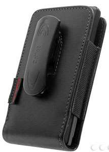 New Bergamo Vertical Genuine Leather Case Holster Black Red By Cellet