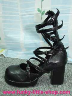 Gothic black high heel shoes lolita cosplay US 5.5 10.5