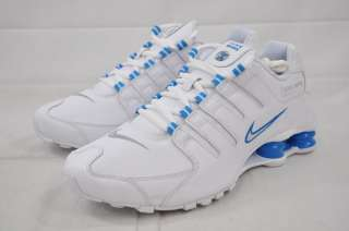 WMNS NIKE SHOX NZ 314561 108 WHITE BLUE GLOW PERFORATED LEATHER WOMENS