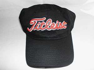 BRAND NEW Titleist Unstructured Black Hat Ball Cap, BLACK/RED WHITE