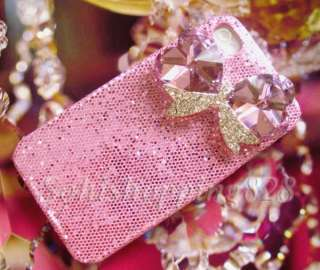 Pink Diamond Bow 3D Bling Hard Case Cover iPhone 4 4G