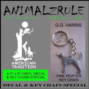 COON HUNTING DECAL & G.G. HARRIS FINE PEWTER COON DOG KEY