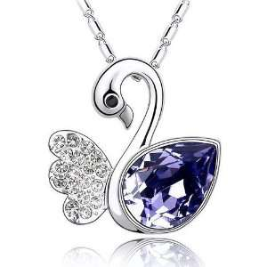 Fancy 18k White Gold Plated Amethyst Purple and Clear