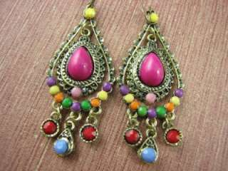 India Ethnic Style Gold Tone Dangle Earrings ME575