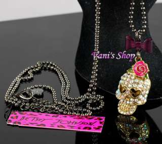 BETSEY JOHNSON Jewelry Crystall skull rose earrings necklace set, gift