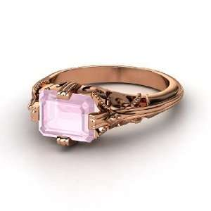 Acadia Ring, Emerald Cut Rose Quartz 14K Rose Gold Ring Jewelry