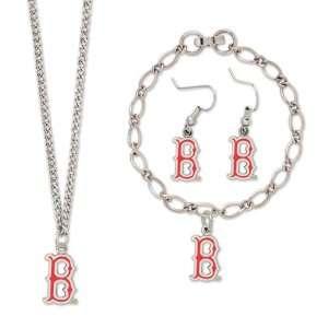 MLB Boston Red Sox Ladies Silvertone Jewelry Gift Set
