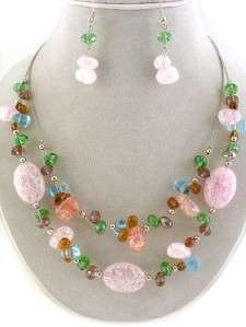 Multi Color Layered Beaded Necklace & Earring Set