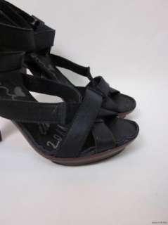 LANVIN Ete 2011 Black Leather Platform Strappy Sandals Heels sz 37 / 7